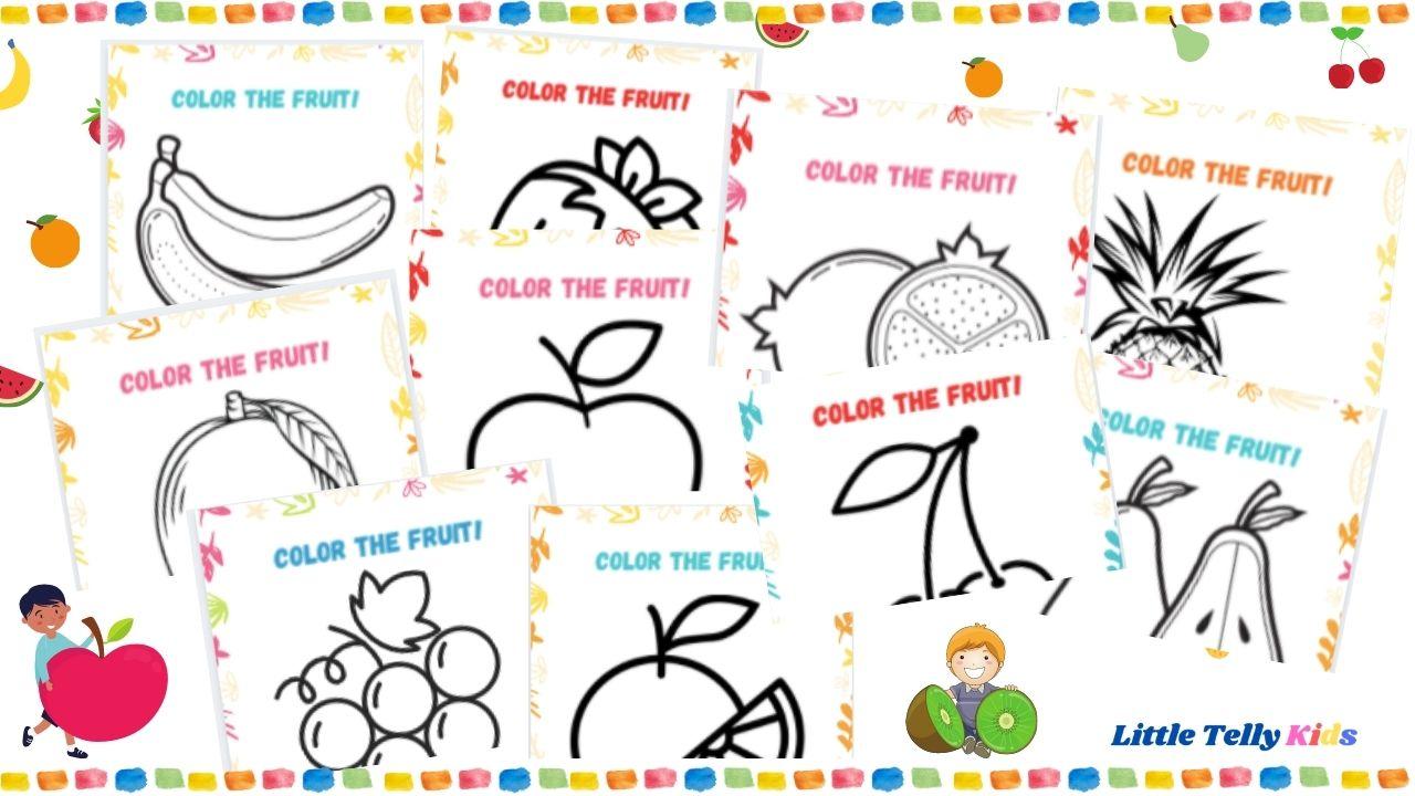 Fruits color worksheets