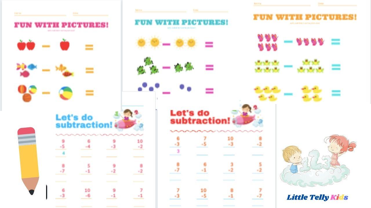 subtraction worksheet for kids